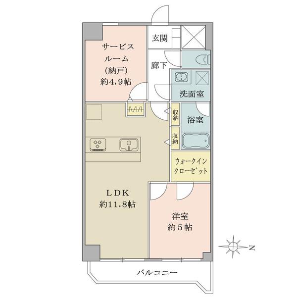 東建島津山南ハイツの間取図/5F/4,480万円/1SLDK/51.3 m²