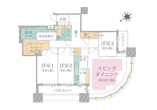 東京ツインパークス ライトウイングの間取図/37F/20,800万円/3LDK+WIC/106.23 m²