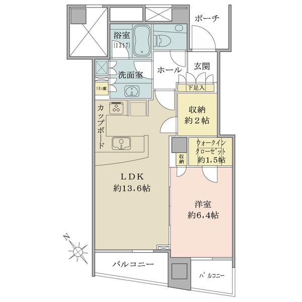 品川Vタワーの間取図/15F/7,180万円/1LDK+納戸/53.01 m²
