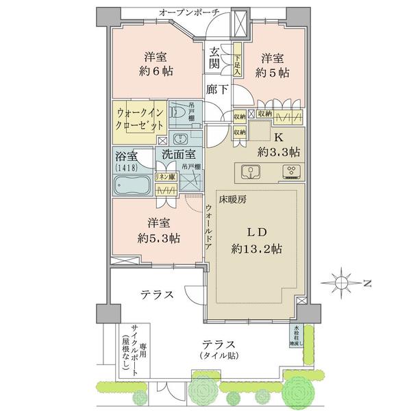 ブリリア目黒碑文谷の間取図/1F/7,370万円/3LDK/72.18 m²