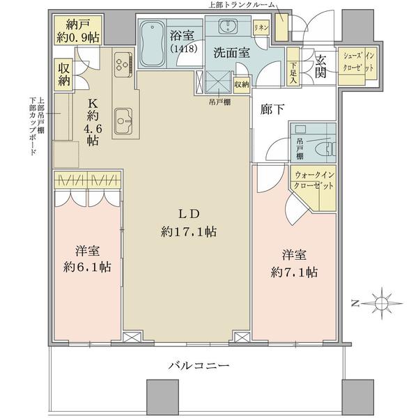 ブリリアタワーズ目黒 ノースレジデンスの間取図/37F/18,800万円/2LDK+N/82.59 m²