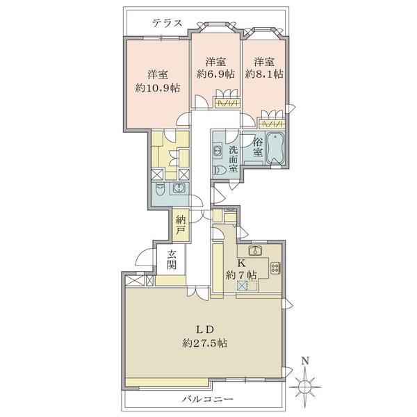 ロワ・ヴェール平町の間取図/3F/12,300万円/3LDK/141.63 m²