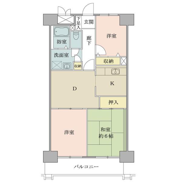 東建品川南ハイツの間取図/8F/3,200万円/3DK/58.8 m²