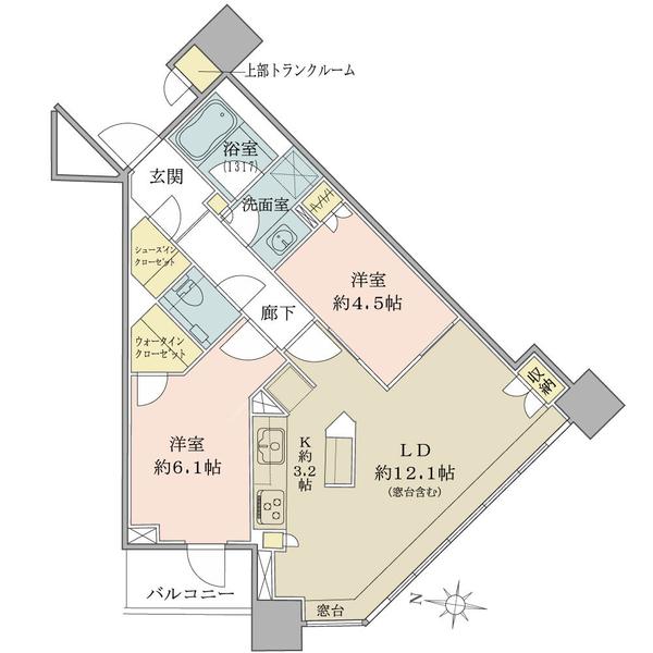 ブリリアタワーズ目黒 ノースレジデンスの間取図/20F/12,800万円/2LDK+WIC+SIC/61.77 m²