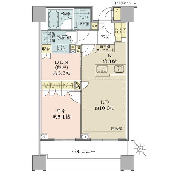 ブリリアタワーズ目黒 ノースレジデンスの間取図/26F/12,240万円/1SLDK/54.37 m²