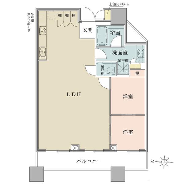 ブリリアタワーズ目黒 ノースレジデンスの間取図/28F/15,890万円/2LDK/68.07 m²