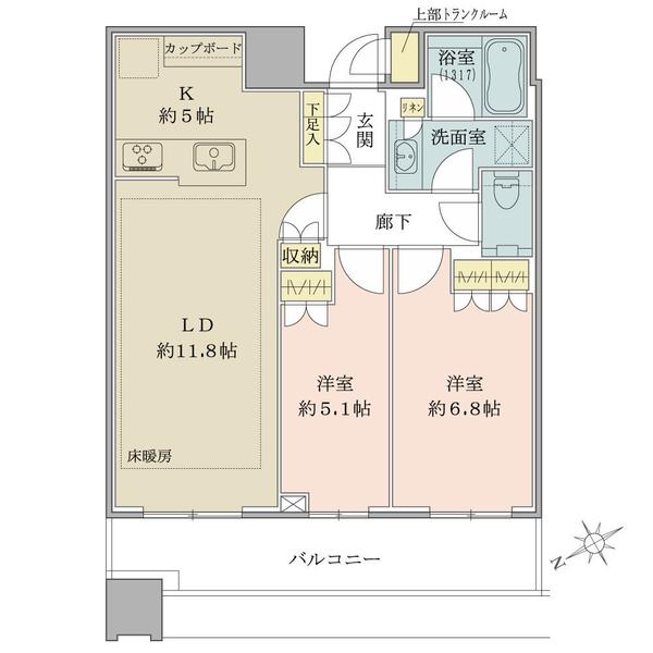 ブリリアタワーズ目黒 サウスレジデンスの間取図/35F/14,480万円/2LDK/62.57 m²