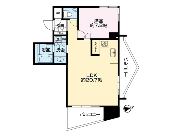 品川Vタワーの間取図/11F/9,000万円/1LDK/59.12 m²