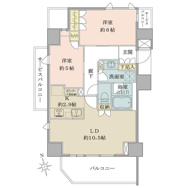 ブリリア品川戸越Parksの間取図/6F/6,280万円/2LDK/57.01 m²