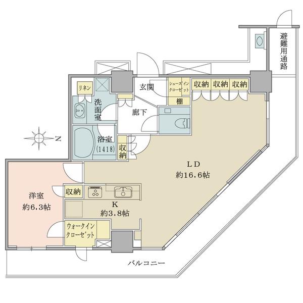 ブリリアタワー大崎の間取図/17F/5,800万円/1LDK/65.01 m²