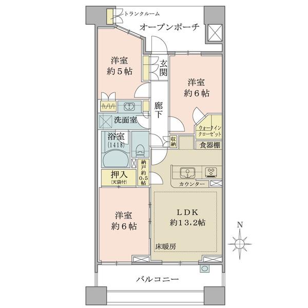 ブリリア品川中延の間取図/4F/6,850万円/3LDK+WIC/69.13 m²
