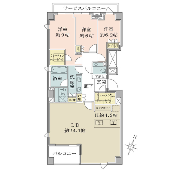 Brillia高輪TheCourtの間取図/3F/23,500万円/3LDK+WIC+SIC/118.02 m²