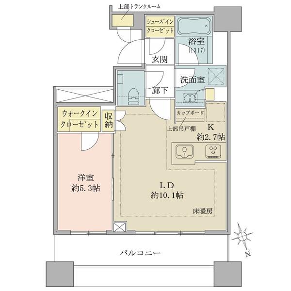 ブリリアタワーズ目黒 サウスレジデンスの間取図/11F/9,280万円/1LDK+SIC/44.61 m²