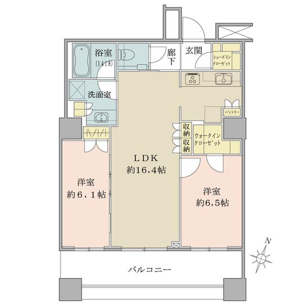 ブリリア大井町ラヴィアンタワーの間取図/8F/7,980万円/2LDK/67.58 m²