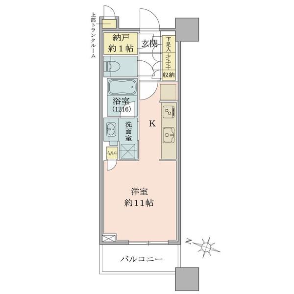 ブリリアタワーズ目黒 ノースレジデンスの間取図/3F/6,100万円/1R+N/30.99 m²