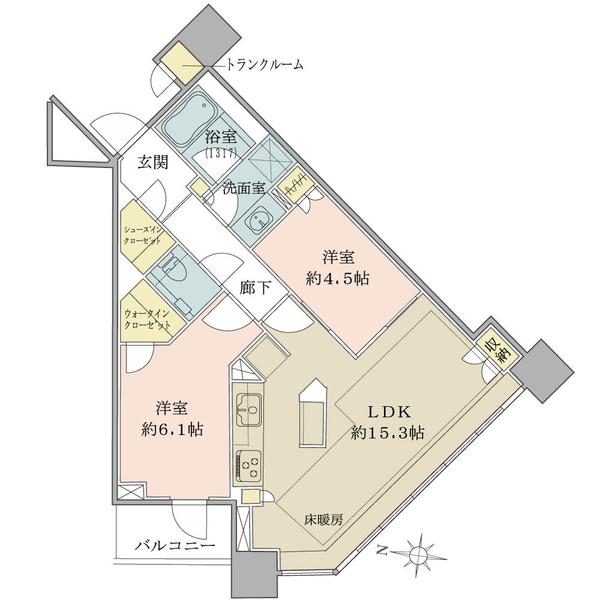 ブリリアタワーズ目黒 ノースレジデンスの間取図/19F/11,980万円/2LDK/61.77 m²
