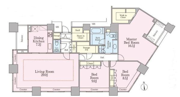 高輪ザ・レジデンスの間取図/39F/23,300万円/3LK+2S/157.65 m²
