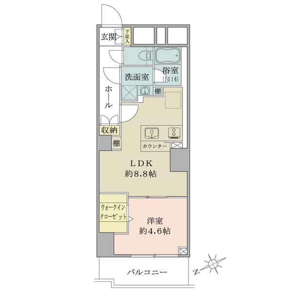 ニューハイツ大森の間取図/8F/2,480万円/1LDK+WIC/34.92 m²