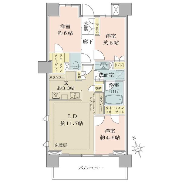 ブリリア品川戸越パークスの間取図/9F/7,700万円/3LDK/68.14 m²