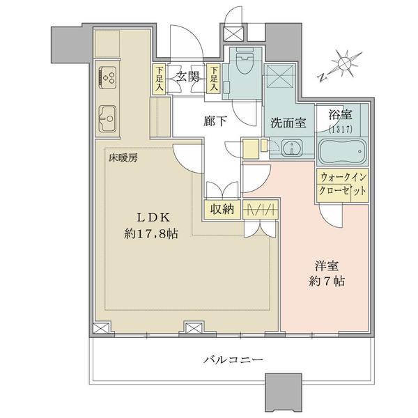 ブリリアタワーズ目黒サウスレジデンスの間取図/14F/12,000万円/1LDK+WIC/59.43 m²