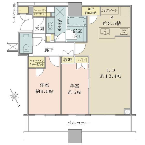 ブリリアタワーズ目黒 サウスレジデンスの間取図/25F/14,800万円/2LDK+WIC/66.65 m²
