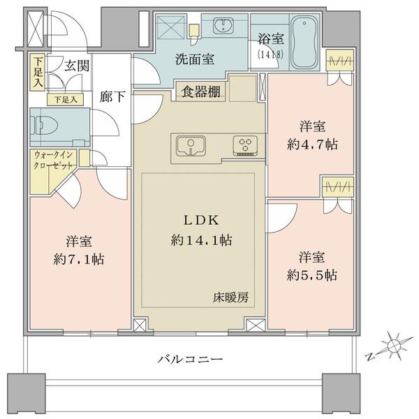 ブリリアタワーズ目黒 サウスレジデンスの間取図/30F/15,980万円/3LDK+WIC/72.49 m²