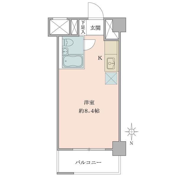 東建ニューハイツ九段の間取図/7F/1,750万円/1R/23.23 m²