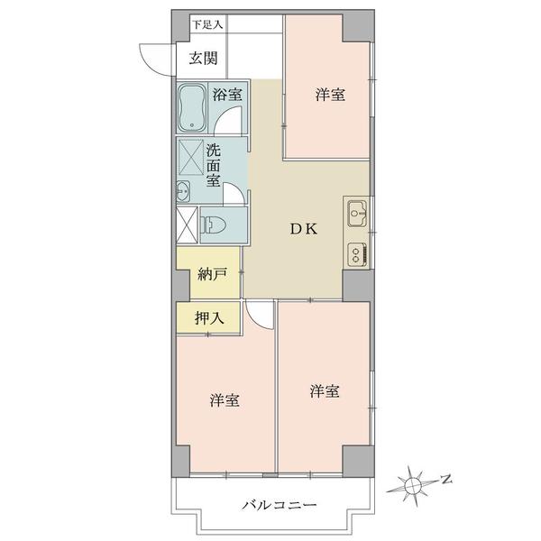 ニューハイツ大森の間取図/5F/3,780万円/3DK+N/61.07 m²