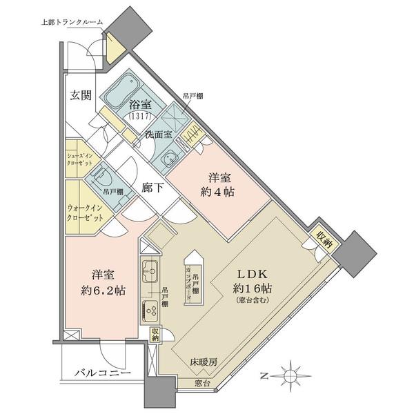 ブリリアタワーズ目黒 ノースレジデンスの間取図/5F/12,330万円/2LDK/64.01 m²