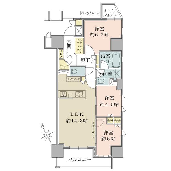 ブリリア大井町ザ・レジデンスの間取図/10F/7,980万円/3LDK+WIC+SIC/70.41 m²