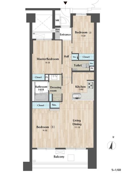 グランヴェール目黒の間取図/2F/6,930万円/3LDK/72.43 m²