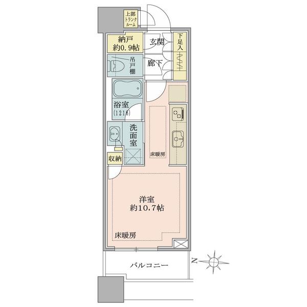 ブリリアタワーズ目黒 ノースレジデンスの間取図/17F/7,000万円/1R+N/30.76 m²