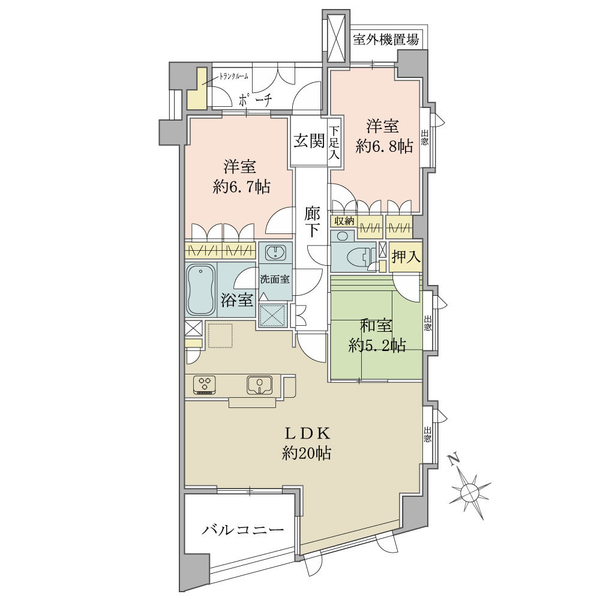 グランヴェール代官山の間取図/4F/13,730万円/3LDK/82.91 m²
