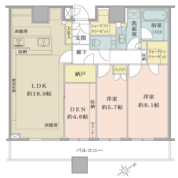 ブリリアタワーズ目黒サウスレジデンスの間取図/33F/23,800万円/2LDK+DEN/86.92 m²