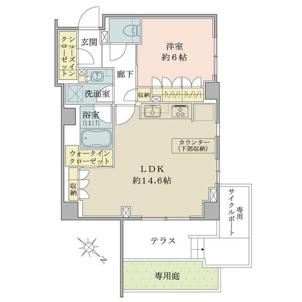 Brillia学芸大学の間取図/1F/6,980万円/1LDK/54.6 m²
