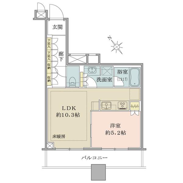 ブリリアタワーズ目黒 ノースレジデンスの間取図/7F/8,980万円/1LDK/40.95 m²