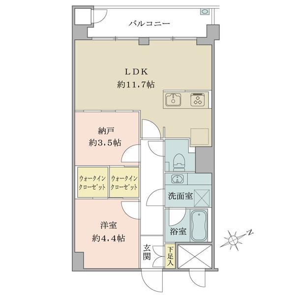 東建マンション学芸大の間取図/1F/4,490万円/1SLDK/49.5 m²