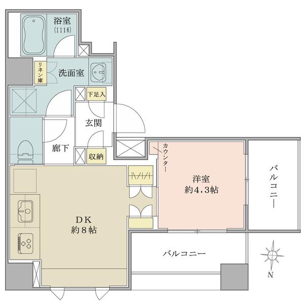 Brillia中野の間取図/6F/3,290万円/1DK/34.77 m²