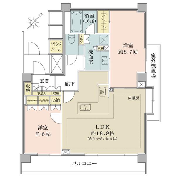ロワヴェール表参道の間取図/2F/12,980万円/2LDK/78.33 m²