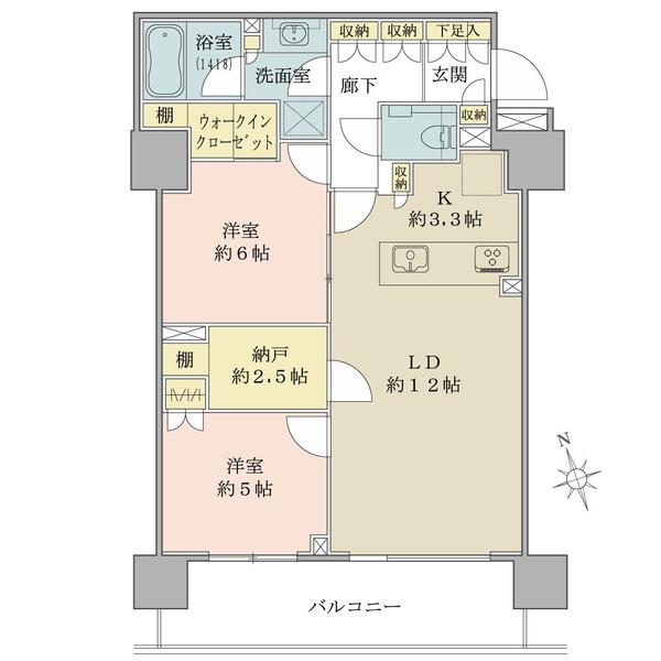 ブリリア砧公園の間取図/5F/5,490万円/2LDK+N+WIC/66.12 m²