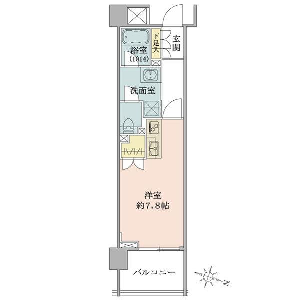 Brillia神楽坂idの間取図/1F/2,800万円/1R/24.84 m²