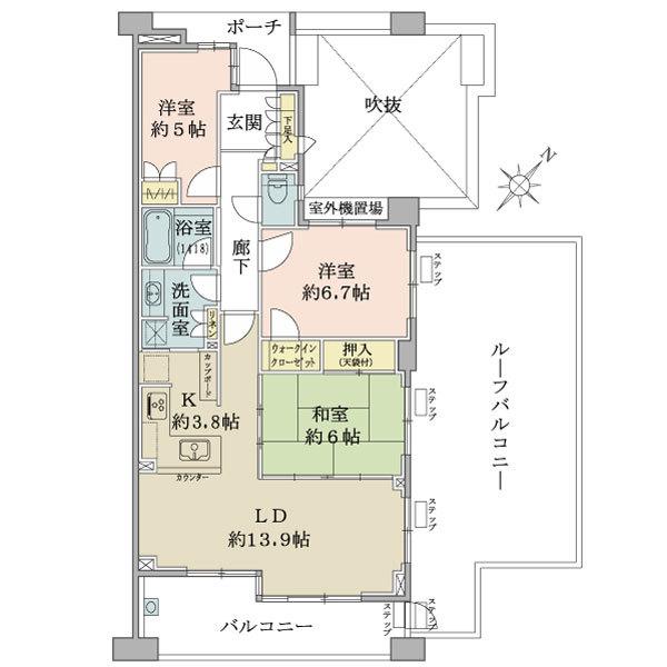 ブリリア新宿余丁町の間取図/5F/12,000万円/3LDK+W/79.5 m²