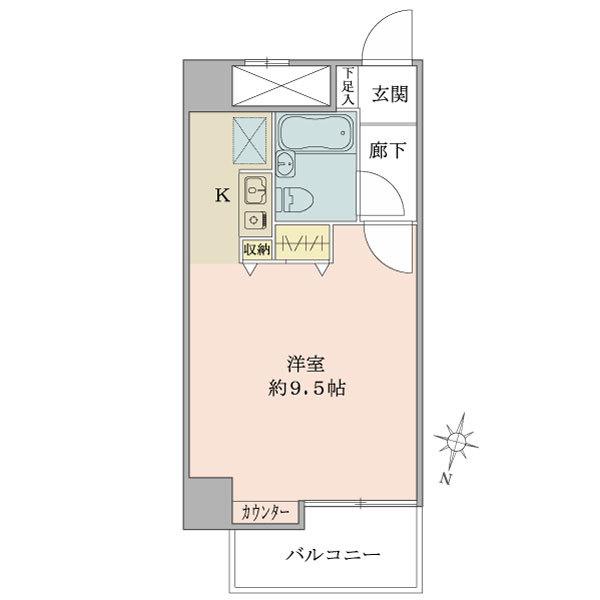 プリ・ヴェール新中野の間取図/9F/1,650万円/1R/27.06 m²