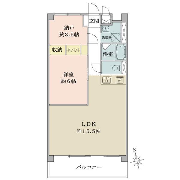 東建中村橋マンションの間取図/2F/2,480万円/1LDK+N/54 m²