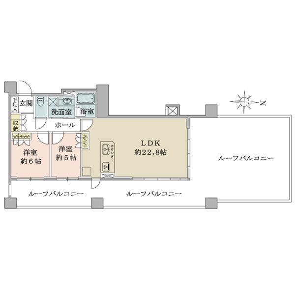 *7階建最上階部分*2LDK角住戸*78.25平米ルーフバルコニー*東京スカイツリーView