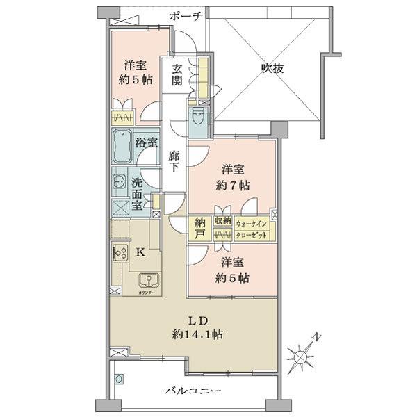 ブリリア新宿余丁町の間取図/4F/8,680万円/3LDK+WIC/79 m²