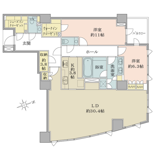 *11階建6階部分 *2LDK+WIC+SIC+Sto角住戸