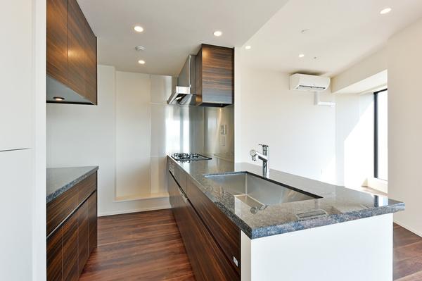 食器洗浄機や浄水器一体型の対面式システムキッチン。ガラストップコンロやパントリーを設置。