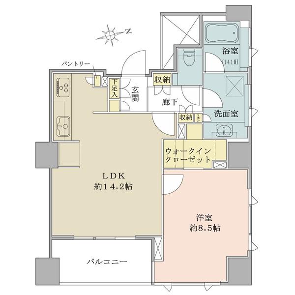 ブリリア砧公園の間取図/8F/4,800万円/1LDK+WIC/56.42 m²