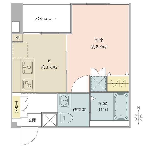 東建ニューハイツ市ヶ谷の間取図/4F/2,380万円/1K/27.07 m²